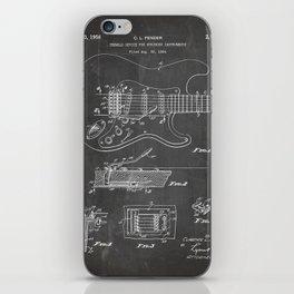 Guitar Tremelo Patent - Guitarist Art - Black Chalkboard iPhone Skin