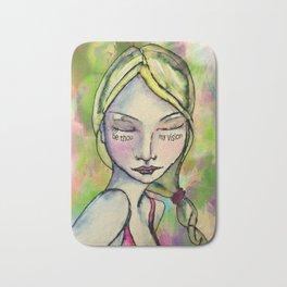 Watercolor Girl Be Thou My Vision Bath Mat