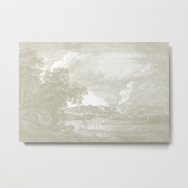 Hudson River and Catskills,  French Gray and Crisp White Metal Print