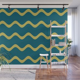 Dark Yellow Simple Soft Rippled Horizontal Line Pattern on Tropical Dark Teal Inspired by Sherwin Williams 2020 Trending Color Oceanside SW6496 Wall Mural