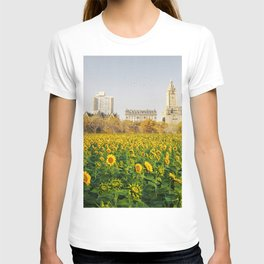 Central Park Sunflower Field Collage T-shirt