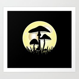 Mushrooms In Moonlight Art Print
