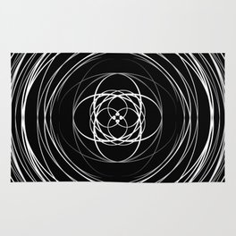 Black White Swirl Rug