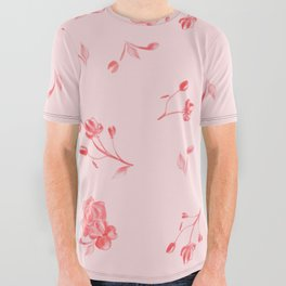 Charleston Floral Pink Rouge All Over Graphic Tee