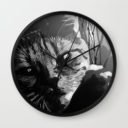 set your cat free vector art black white Wall Clock