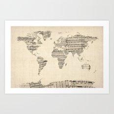 Old Sheet Music World Map Art Print