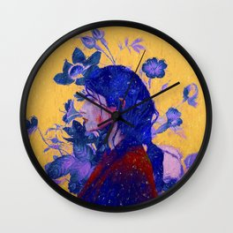 mysterious woman in flowers Wall Clock