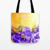 jazzberry Tote Bags featuring INTO ETERNITY, YELLOW AND LAVENDER PURPLE Colorful Watercolor Painting Abstract Art Floral Landscape by EbiEmporium