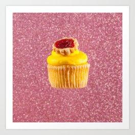 Cupcake Love | Lemon Cherry Pie on Pink Sparkle Art Print
