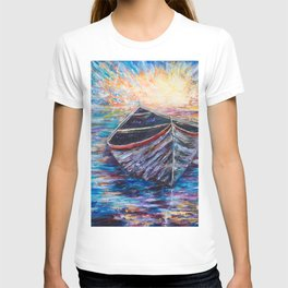 Wooden Boat at Sunrise - original oil painting with palette knife #society6 #decor #boat T-shirt