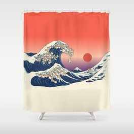 The Great Wave of Corgis Shower Curtain