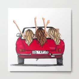 Girls in a car Metal Print