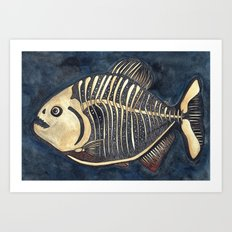 Skele-piranha Art Print