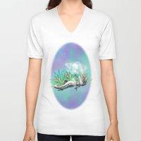 trex V-neck T-shirts featuring weed trex by raulovsky (Raúl Ramos Melo)