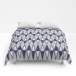 Mid Century Modern Diamond Pattern Blue and Gray 232 Comforters