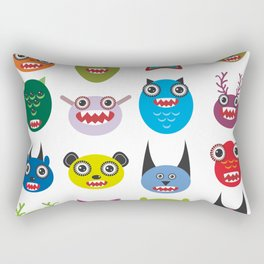 Cute cartoon Monsters Set. Big collection on white background Rectangular Pillow