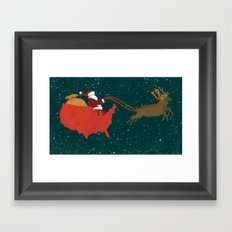 Red White and Blue Christmas Framed Art Print