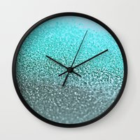 teal Wall Clocks featuring TEAL  by Monika Strigel