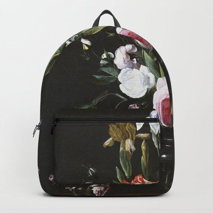 Daniel Seghers - Flowers In A Glass Vase Backpack
