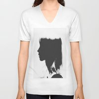 silhouette V-neck T-shirts featuring Silhouette   by Jane Lacey Smith