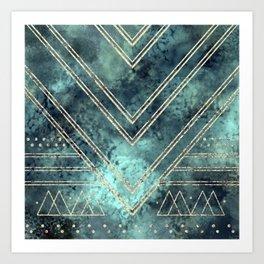 Jade Chevron Gold Art Print