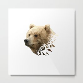 Low Poly Bear--White Metal Print