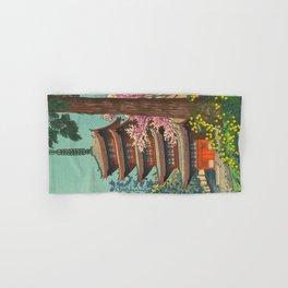 Asano Takeji Spring in Daigoji Temple Vintage Japanese Woodblock Print Detailed East Asian Art Hand & Bath Towel