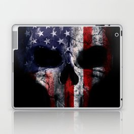 American Flag Punisher Skull Grunge Distress USA Laptop & iPad Skin