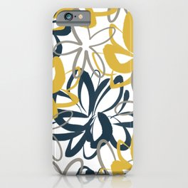 Lotus Garden Painted Floral Pattern in Light Mustard Yellow, Navy Blue, and Gray on White iPhone Case