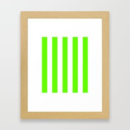 Green slime - solid color - white vertical lines pattern Framed Art Print