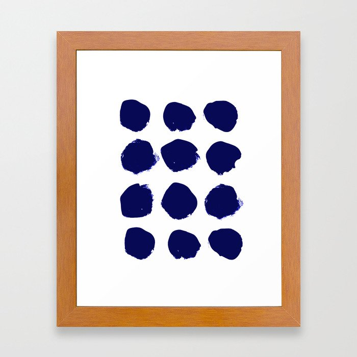 Aria - indigo brushstroke dot polka dot minimal abstract painting pattern painterly blue and white  Framed Art Print
