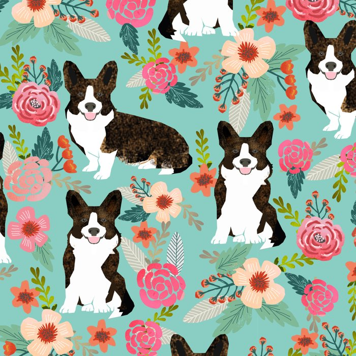 Brindle Cardigan Corgi Florals - cute corgi design, corgi owners will love this mint florals corgi Leggings