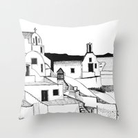 greek Throw Pillows featuring Greek Island by KostasK