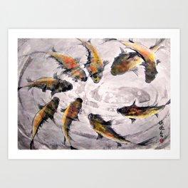 9 Koi Art Print