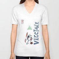 vegetable V-neck T-shirts featuring Vegetable Garden by june and august