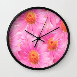 Bunch of pink daisy flowers - a fresh summer feel in pink color Wall Clock