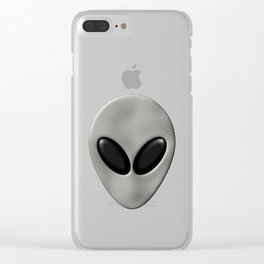 Alien Face With White Scales Clear iPhone Case