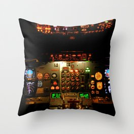 Airliner Flight Deck Throw Pillow