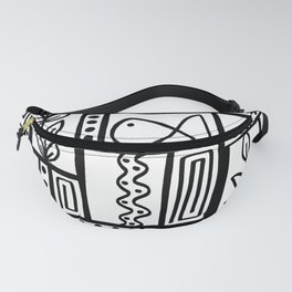 Fishes Seaweeds and Shells - Black and White Fanny Pack