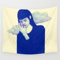 clouds Wall Tapestries featuring Clouds by Natalie Foss
