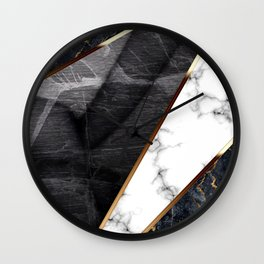 Elegant Marble Collage with Gold Lining Wall Clock