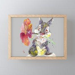 Bunny With flower Framed Mini Art Print