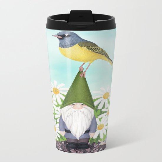gnome with MacGilivray's warbler and daisies Metal Travel Mug