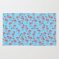 flamingos Area & Throw Rugs featuring Flamingos by WanderingBert / David Creighton-Pester