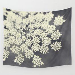 Black and White Queen Annes Lace Wall Tapestry