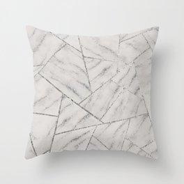 White Marble Silver Glitter Geometric Glam #2 (Faux Glitter) #geo #decor #art #society6 Throw Pillow
