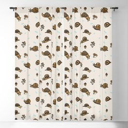 Cute woodland snail and mushroom cartoon seamless vector pattern. Blackout Curtain