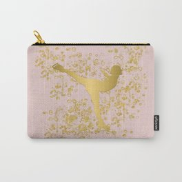 Figure Skater in Golden Flakes and Pink-Graphic Design Carry-All Pouch