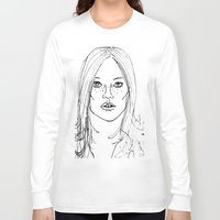 kate moss Long Sleeve T-shirts featuring Kate Moss by Erika's Art Shoppe