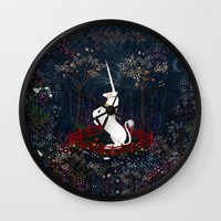 unicorn Wall Clocks featuring Unicorn by Danse de Lune